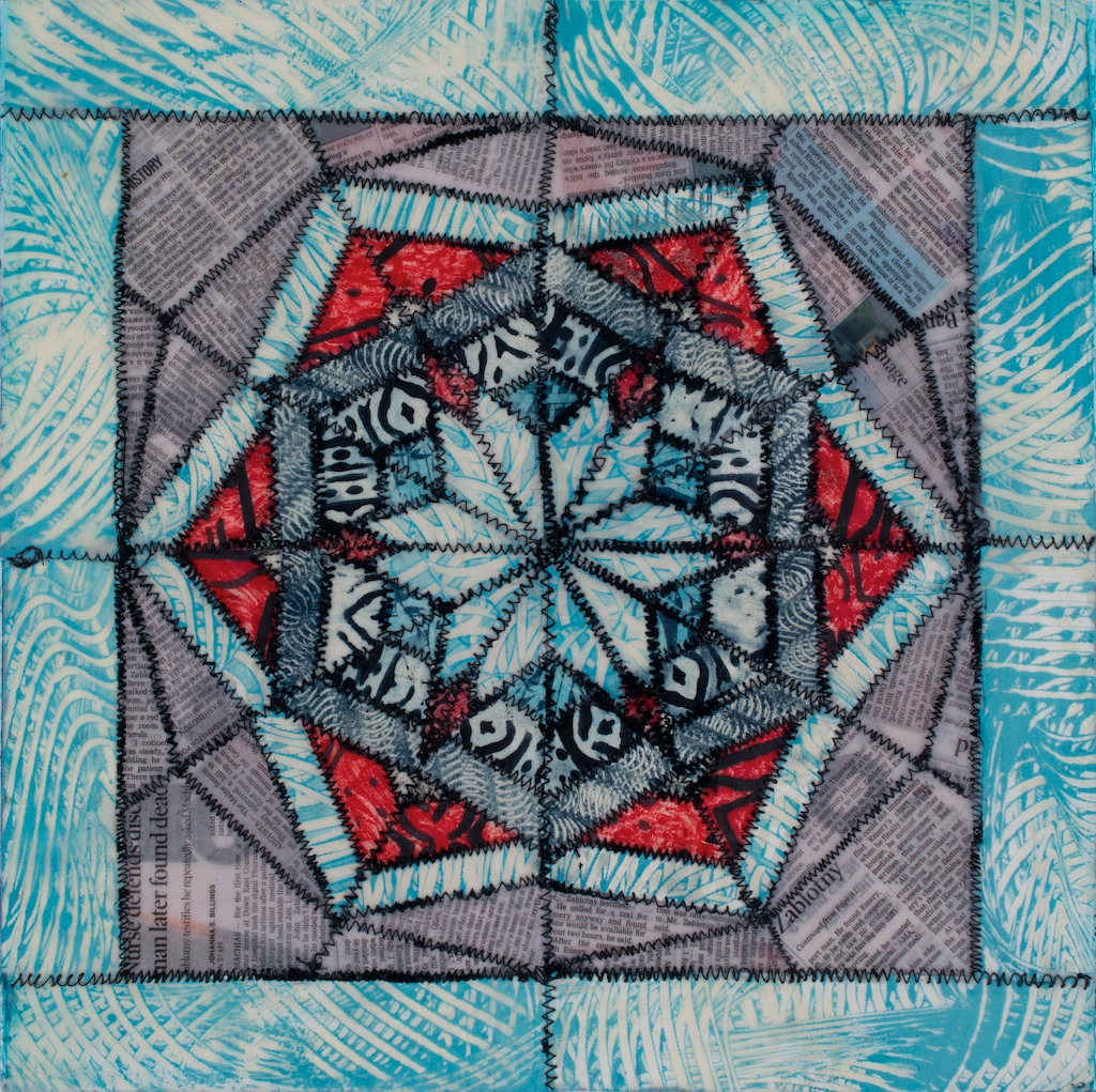 "Encaustic collage, ""Kaleidoscope II"""