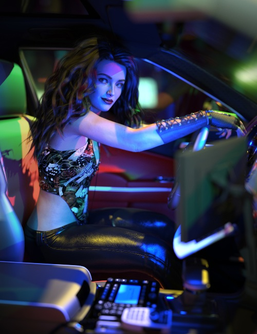 a female 3D model poses inside a car