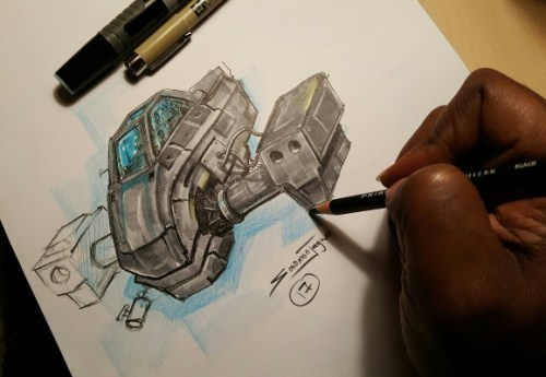 a futuristic drawing by Solomon W. Jagwe of Sowl Studios
