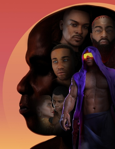 a collage of Black men on a man's head profile on an orange background