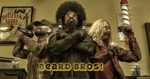 """a render of three bearded men with strong poses and the wording """"Beard Bros!"""""""