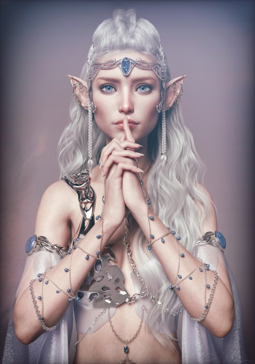 a rendered elf holding a finger to her lips