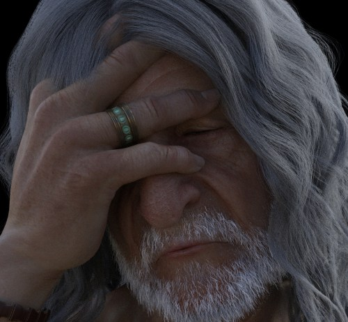 an old man holds his head in his hand