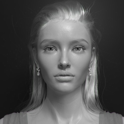 a clay of the hyper-realistic woman by a Daz 3D senior character artist