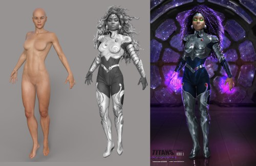 3 images showing the process of a costume concept artist from the base model pose to the full costume