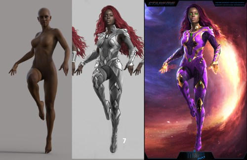 3 images showing the process Starfire's model and costume concept