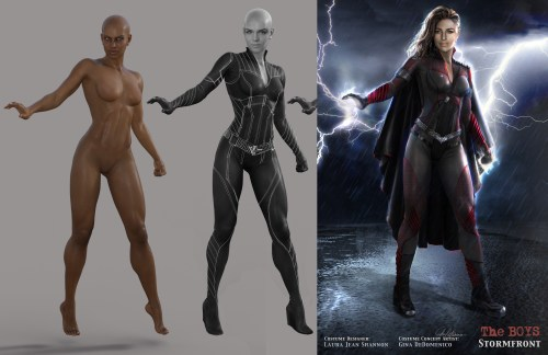 3 images showing the process of Stormfront's costume concept design