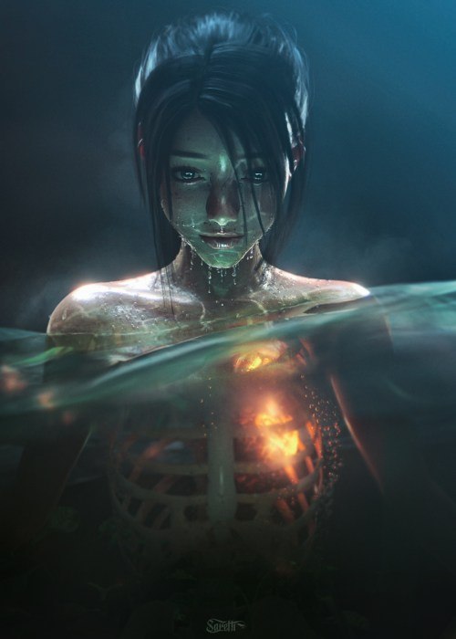 a render of a woman partially submerged in water