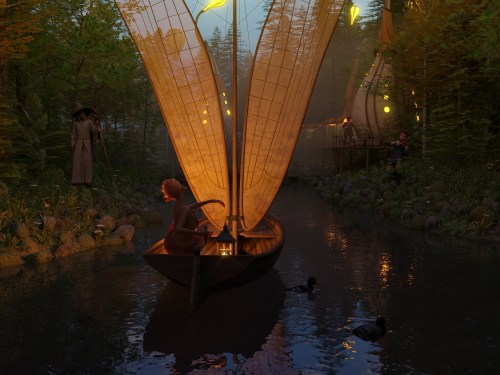 a render of a person in a boat floating down a narrow river