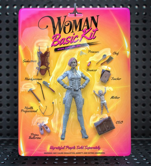 a woman figurine still in packaging that features different pieces for different professions