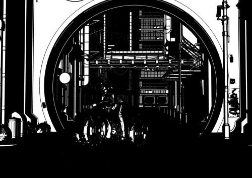 a black and white 2D rendering of a scene in Daz Studio