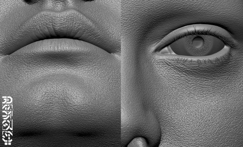 a closeup of the clay that showcases the realistic skin textures