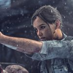 a young woman kneels in the snow, guns pointing at unseen enemies