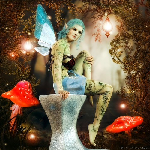 a render of a female fairy character sitting amid glowing lights and mushrooms