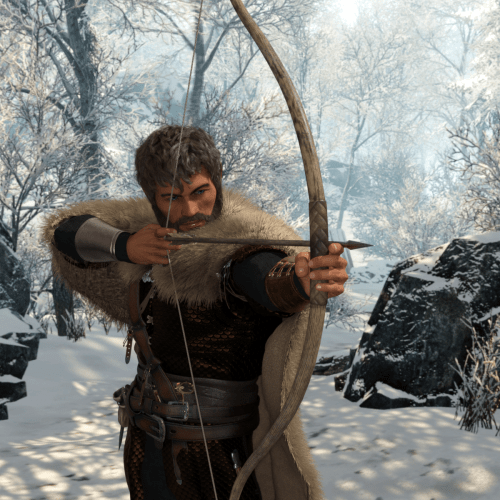 a man with a bow and arrow in the snow