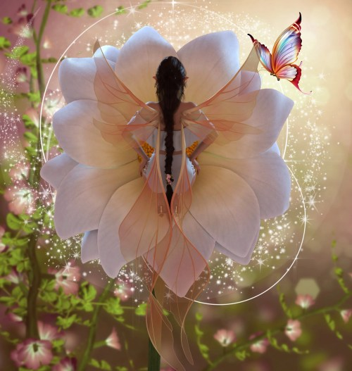 a render of a fairy character from behind sitting in a flower blossom