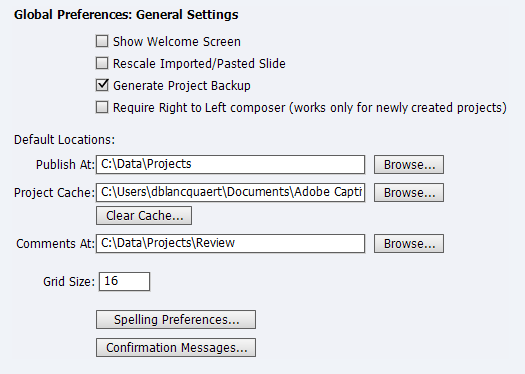 Adobe Captivate Preferences