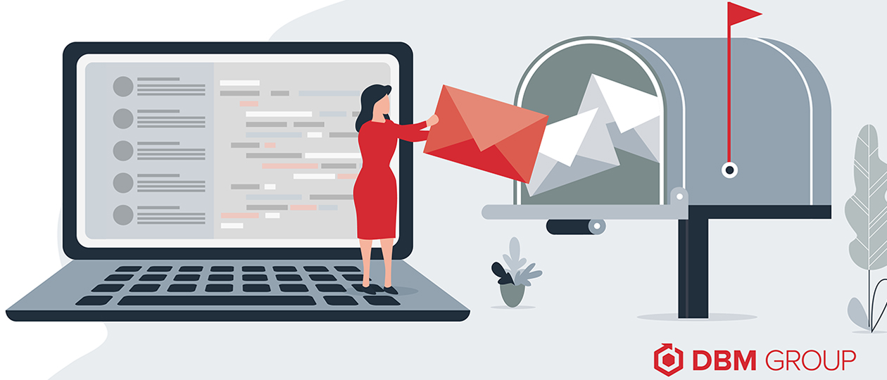 An illustration of a woman standing on a laptop inserting a direct mail piece into a mailbox