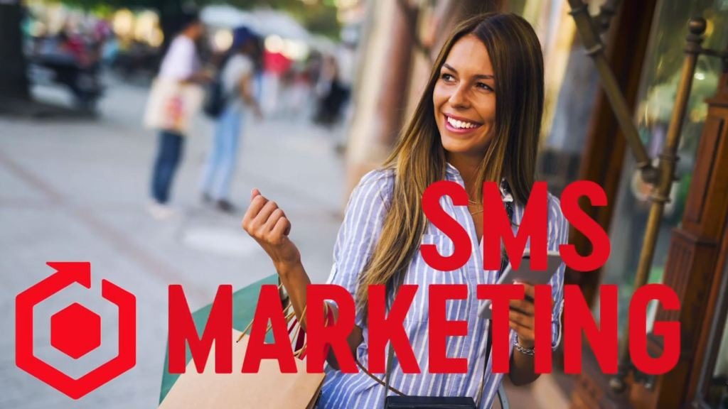 A smiling woman carrying shopping bags. The title SMS marketing displays across the screen.