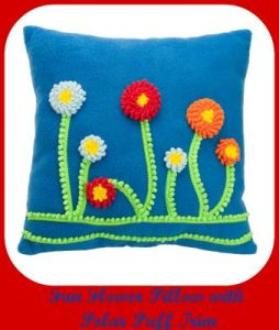 Fun Flower Pillow with Polar Puff Trim