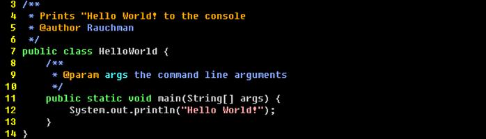 A short Hello World program written in Java.