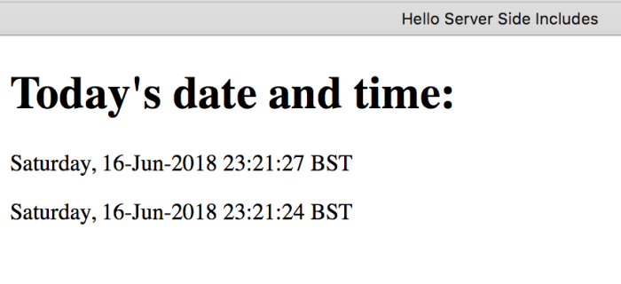 A webpage displaying the current date, time, and when the file was last modified.