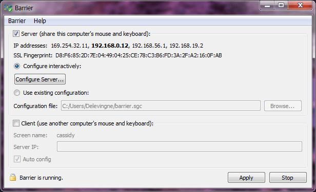 Barrier running on my Windows computer.