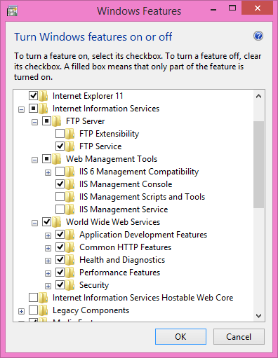 The Windows Features dialogue box with Internet Information Services selected for install.