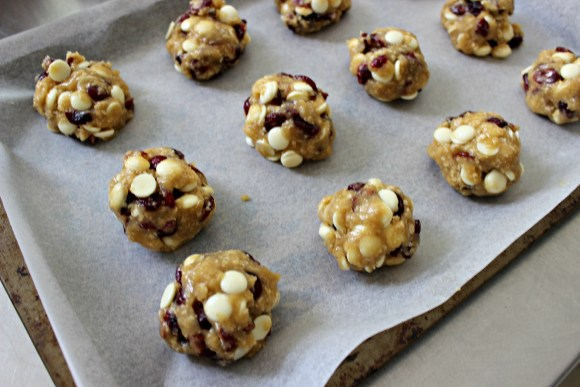 Rolled white chocolate and cranberry cookies
