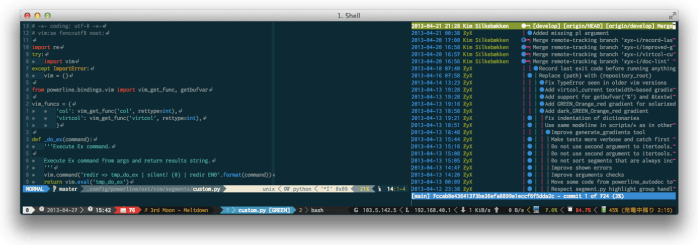 iTerm2 + tmux + vim + Powerline