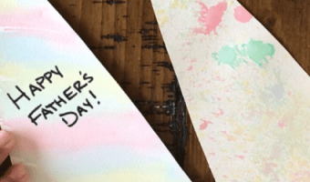 This Father's Day craft tutorial uses common household items like baking soda, paper, food coloring, and old toothbrushes to make a special card for Dad.