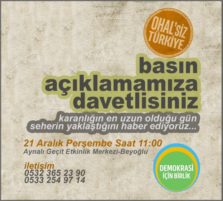 OHAL'siz Türkiye!