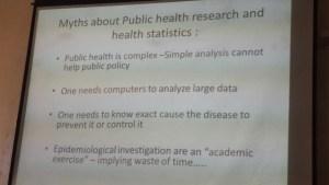 One of Professor Mavalankar's slides