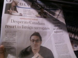 Front page of Ottawa Citizen, Dec 12 2010