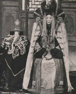 Traditional Mongolian royalty. Apparently this inspired the Naboo costumes in the Star Wars prequels.