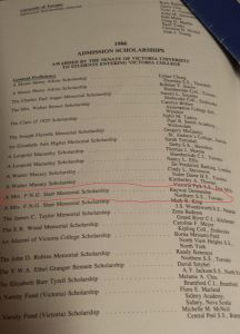 Victoria College notice of scholarship award-winners from 1986