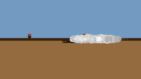 The worm stirs up dust as it moves around just beneath the surface.