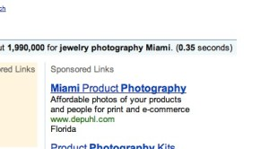 Screen capture of the first paid ad for photography services