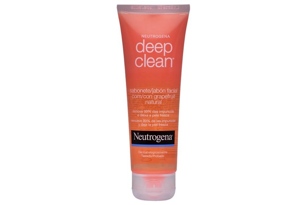 Sabonete facial Neutrogena  para limpeza antes da maquiagem.