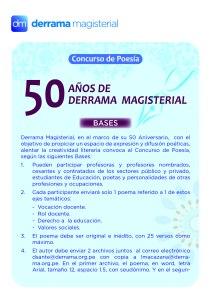 concurso de poesía 50 años de Derrama Magisterial