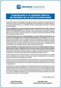 COMUNICADO A LA OPINIÓN PÚBLICA: En defensa de la institucionalidad
