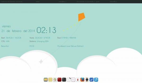 Distro: Archlinux WM: OpenBox Tint2 Dock: Wbar con íconos Pacífica Tema de Openbox: Arch.Blue Tema GTK: +1 El conky no me acuerdo de donde lo saqué, pero lo he modificado mucho, es estilo Gotham Wallpaper