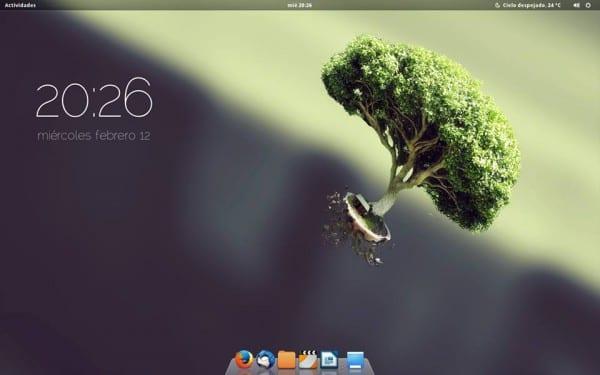 Distribución: Fedora 20 x64 Entorno de escritorio: GNOME Shell Tema de Ventana y GTK: Zukiwi Tema de Shell: Zukitwo-Shell Iconos: Faience-Claire (http://tiheum.deviantart.com/art/Faience-icon-theme-255099649) Conky: Conky eOS Dock: Docky (Tema Air/Fondo 3D) Wallpaper: http://i.minus.com/iyPwggTggHz3P.png