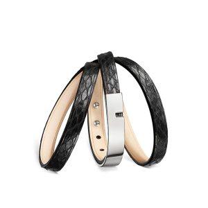 Bracelet-femme-python-noir-argenté-u-turn-twice-ursul