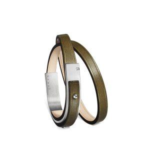 Bracelet-femme-u-turn-revolution-cuir-kaki-argenté-ursul