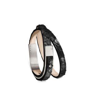 Bracelet-femme-u-turn-revolution-python-noir-argenté-ursul