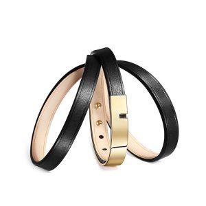 Bracelet-femme-u-turn-twice-cuir-noir-doré-ursul