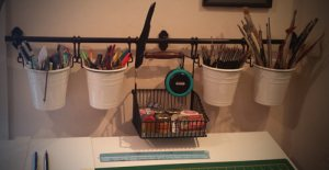 ikea kitchen storge rack used for art tools