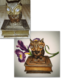 brass owl ornament photograph with miniature painting