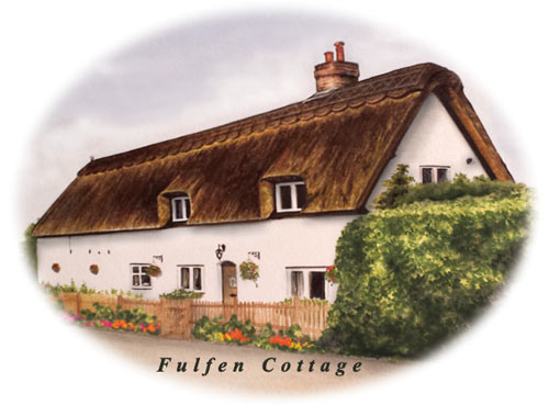 thatched cottage in watercolour